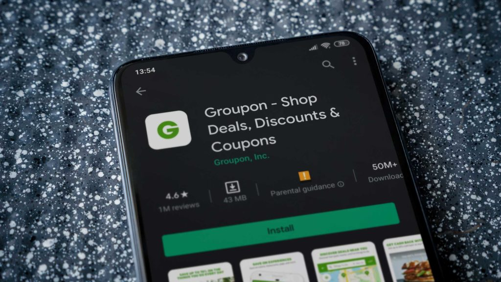 Groupon app on mobile phone
