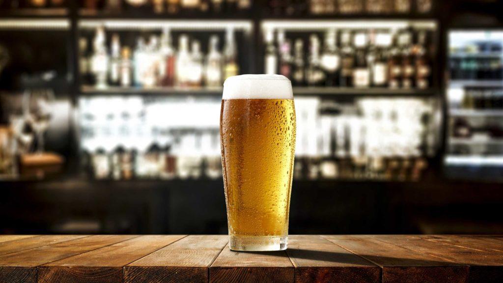 Pint of Ottakringer beer sitting on counter